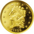 Proof Classic Quarter Eagles: , 1836 $2 1/2 Unlisted Variety PR66 Ultra Cameo NGC. Unlisted Obverse Die, Script 8, Reverse of Variety G (AM widely spaced)....