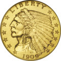 """Proof Indian Quarter Eagles: , 1909 $2 1/2 PR65 NGC. This is a well preserved specimen, struck inthe so-called """"Roman Gold"""" proof finish of this year, an..."""
