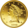 1862 $5 PR64 Cameo PCGS. Ex: Trompeter. Ed Trompeter owned perhaps the most magnificent collection of proof U.S. gold co...