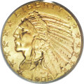 Indian Half Eagles: , 1908 $5 MS66 PCGS. First year of the new Pratt design and widelysaved, presumably because of the novelty of the design as ...
