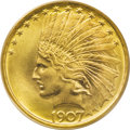 Indian Eagles: , 1907 $10 No Motto MS67 PCGS. This last version of the 1907 goldeagle is the one used for production of coins that actually...