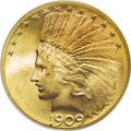 Indian Eagles: , 1909-S $10 MS67 PCGS. Work on the new design San Francisco eaglesdid not begin until August when a small quantity were str...