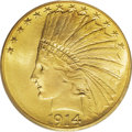 Indian Eagles: , 1914-S $10 MS66 PCGS. As with many ten and twenty dollar goldpieces of the Saint-Gaudens design, the original mintage does...