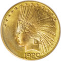 Indian Eagles: , 1920-S $10 MS66 PCGS. This year marked the first production of goldcoinage since 1916. From the time 126,500 eagles were s...
