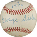 Autographs:Baseballs, 1970 George Sisler Single Signed Baseball....