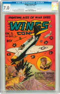 Golden Age (1938-1955):War, Wings Comics #50 (Fiction House, 1944) CGC FN/VF 7.0 Off-white towhite pages....