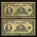 Canadian Currency: , BC-2 $1 1935 Two Examples Very Good.. ... (Total: 2 notes)