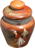 Golf Collectibles:Miscellaneous, Circa 1905 Handel Hand-Painted Humidor with Golf Scene....