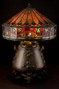Art Glass:Other , AN ONONDAGA COPPER AND IRON TABLE LAMP WITH LEADED GLASS SHADE.Onondaga Metal Shops, Syracuse, New York, circa 1906. Engrav...(Total: 2 Items)