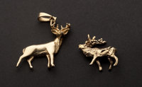 Two Gold Deer Charms
