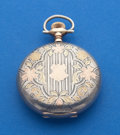 Timepieces:Pocket (post 1900), Elgin 17 Jewel Two-Tone Multi-Color Sterling Pocket Watch. ...