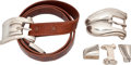 Luxury Accessories:Accessories, Set of Two Buckle Sets: Kieselstein-Cord 2-piece Sterling SilverBuckle and Tip with Alligator Strap & Kieselstein-Cord 4-piece...