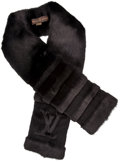 Luxury Accessories:Accessories, Louis Vuitton Limited Edition Black Mink LV Monogram Scarf. ...