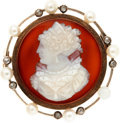 Estate Jewelry:Brooches - Pins, Victorian Hardstone Cameo, Cultured Pearl, Diamond, Gold Brooch, French. ...