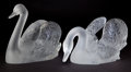 Art Glass:Lalique, PAIR OF LALIQUE CLEAR AND FROSTED GLASS CYGNE TETE DROITE ANDCYGNE TETE PENCHEE SWANS. Post 1945 . Engraved: ... (Total:2 Items)