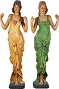 Antiques:Folk Art, A Pair of Carved Wood Carnival or Carousel Band Figures, ca. 1900.... (Total: 1 Pair)