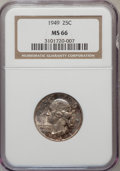 Washington Quarters: , 1949 25C MS66 NGC. NGC Census: (395/113). PCGS Population (443/36).Mintage: 9,312,000. Numismedia Wsl. Price for problem f...