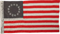 Military & Patriotic:Revolutionary War, Miniature Silk Copy of the Betsy Ross 13 Star Flag Handcrafted byher Great Granddaughter, Circa 1900....