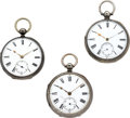 Timepieces:Pocket (pre 1900) , Lot Of Three Sterling Cased Lever Fusee's. ... (Total: 3 Items)