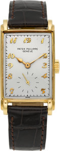 Timepieces:Wristwatch, Patek Philippe Ref. 1559 Vintage 18k Gold Rectangular Wristwatch,circa 1940. ...