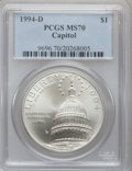 Modern Issues: , 1994-D $1 U.S. Capitol Silver Dollar MS70 PCGS. PCGS Population(356). NGC Census: (529). Mintage: 68,352. Numismedia Wsl. ...