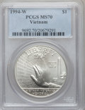 Modern Issues: , 1994-W $1 Vietnam Veterans Memorial Silver Dollar MS70 PCGS. PCGSPopulation (316). NGC Census: (503). Mintage: 57,317. Num...