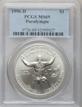 Modern Issues: , 1996-D $1 Olympic/Paralympics Silver Dollar MS69 PCGS. PCGSPopulation (976/111). NGC Census: (588/144). Numismedia Wsl. P...