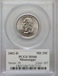 Statehood Quarters, 2002-D 25C Mississippi MS66 PCGS. PCGS Population (604/1073). NGCCensus: (82/60). Numismedia Wsl. Price for problem free ...