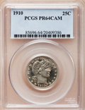 Proof Barber Quarters, 1910 25C PR64 Cameo PCGS....