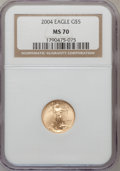 Modern Bullion Coins, 2004 G$5 Tenth-Ounce Gold Eagle MS70 NGC. NGC Census: (3687). PCGSPopulation (238). Numismedia Wsl. Price for problem fre...