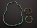 Estate Jewelry:Other , Jade Necklace & Two Gold Jade Bracelets. ... (Total: 3 Items)