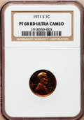 Proof Lincoln Cents, 1971-S 1C PR68 Red Ultra Cameo NGC. NGC Census: (52/8). PCGSPopulation (137/5). Numismedia Wsl. Price for problem free NG...