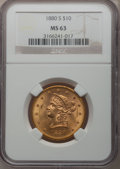 Liberty Eagles, 1880-S $10 MS63 NGC. Breen-7000....
