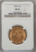 Liberty Eagles: , 1886 $10 MS62 NGC. NGC Census: (100/34). PCGS Population (86/35).Mintage: 236,160. Numismedia Wsl. Price for problem free ...