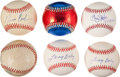 Autographs:Baseballs, Baseball Greats Single Signed Baseball Lot Of 6....