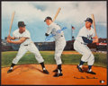 Baseball Collectibles:Photos, Mickey Mantle, Willie Mays and Duke Snider Multi Signed Oversized Print....