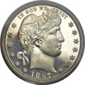 Proof Barber Quarters, 1897 25C PR66+ Cameo PCGS. CAC....