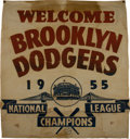 "Baseball Collectibles:Others, 1955 Brooklyn Dodgers ""Welcome Home"" National League Championship Banner...."