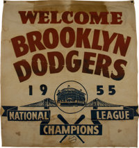 "1955 Brooklyn Dodgers ""Welcome Home"" National League Championship Banner"
