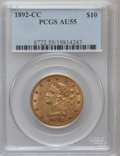 Liberty Eagles, 1892-CC $10 AU55 PCGS. Variety 1-A....