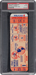 Baseball Collectibles:Tickets, 1963 World Series Game One Full Ticket, PSA NM-MT 8....