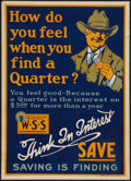 """Movie Posters:War, World War I Propaganda Poster (U.S. Government, 1918). World War IPoster (20"""" X 28"""") """"How Do You Feel When You Find a Q..."""
