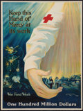 "Movie Posters:War, World War I Propaganda Poster (Red Cross, 1918). Poster (20.5"" X27.5"") ""Keep This Hand of Mercy at its Work."" War.. ..."