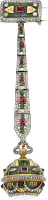 Boucheron Important & Very Fine Platinum & Gold Set Diamond, Ruby, & Enamel Bezel Wind Fob Watch
