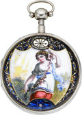 Timepieces:Pocket (pre 1900) , Breguet & Fils Enamel & Silver Quarter Hour Repeating VergeFusee, circa 1790. ...