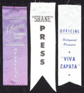"""Movie Posters:Miscellaneous, Press Pass Ribbon Lot (Various, 1952-1955). Ribbons (3) (2"""" X 7.75""""). Miscellaneous.. ... (Total: 3 Items)"""