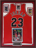 Basketball Collectibles:Uniforms, 1992-93 Michael Jordan Game Worn Jersey, Rookie Card and Misc.Cards Framed Display....