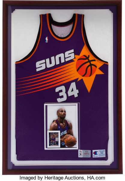 timeless design 8a930 ad23d 1993-94 Charles Barkley Game Worn Phoenix Suns Framed Jersey ...
