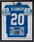 Football Collectibles:Uniforms, 1992 Barry Sanders Game Worn Detroit Lions Framed Jersey. ...