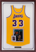 Basketball Collectibles:Uniforms, 1980's Kareem Abdul-Jabbar Game Worn, Signed Los Angeles LakersFramed Jersey - MEARS A10. ...